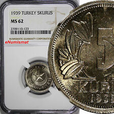 Turkey Copper-Nickel 1939 5 Kurus NGC MS62 Star within crescent KM# 862