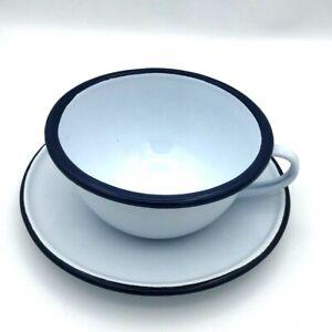 Vintage Enamel Coffee Cup Dish Crow Canyon Home Mug Tea Colored Rim White Set