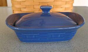 Longaberger-Pottery-Mini-Handled-Casserole-dish-lid-Cornflower-blue-New-w-box