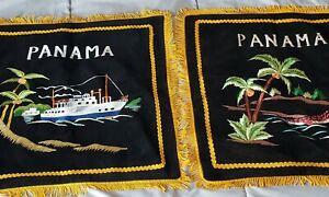 Vintage-Panama-Black-Velvet-Souvenir-Pillow-Cover-Pillowcase-Fringed-Edge