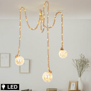 LED Decken Pendel Leuchte Glas Kugel Hanf Seil Design Wohn Zimmer Hänge Lampe