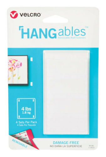 L x 3//4 in W White  4 pk Velcro  HANGables  Removable Fasteners  1-3//4 in
