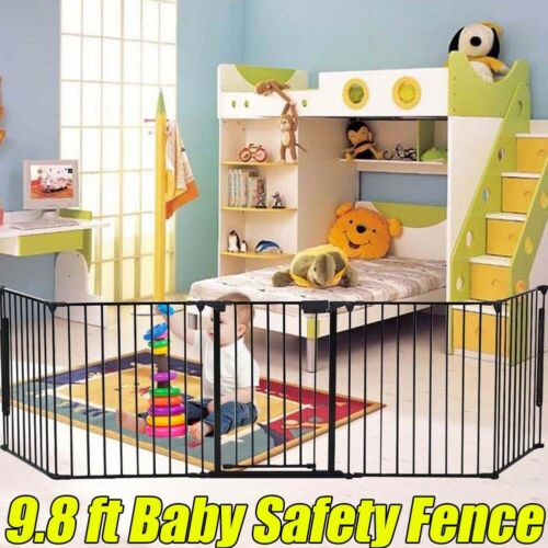 Baby Safety Fence Door Gate Metal Fire Pet Dog Fireplace Barrier Divider 74cm*3m