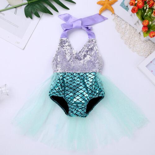 Baby Girls Sequins Backless Romper Tutu Dress Little Mermaid Halloween Costume