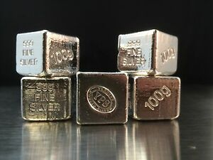 100g-Hand-Poured-999-Silver-Bullion-Bar-by-Yeager-039-s-Poured-Silver-YPS-Cube