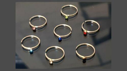 Women Fashion Crystal Rhinestones Hoop Nose Thin Gauge and 8 mm Diameter Rings