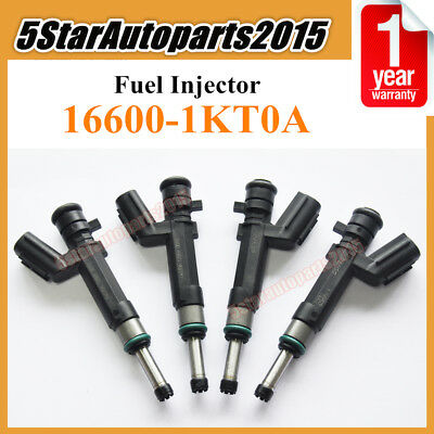 4x Fuel Injector 16600-1KT0A For Denso 2012-2015 Nissan Versa 1.6L