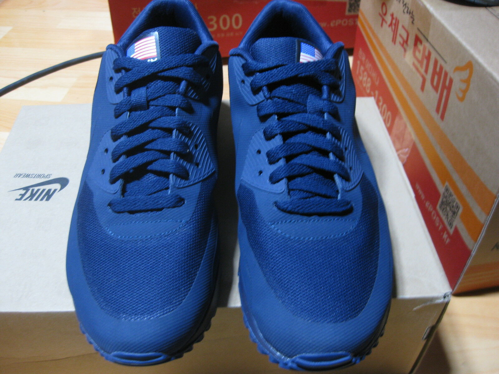Nike Air Max 90 HYPERFUSE NAVY BLUE INDEPENDENCE DAY Sz 9