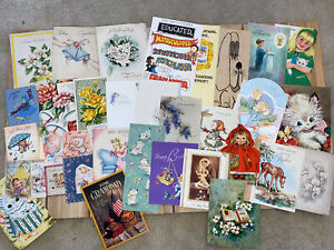 Vintage Greeting Cards Lot- 1950s And Up. 35 Cards- Ephemera- Mixed Lot- D
