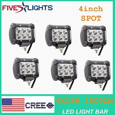 6x18W  4inch CREE SPOT LED LIGHT BAR WORK  LAMP OFFROAD BOAT UTE TRUCK 36W/180W