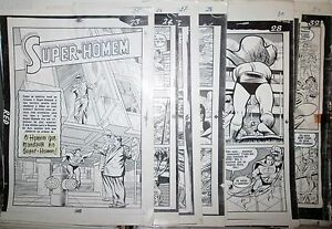 Superman-3-D-1-RARE-B-amp-W-1953-COMPLETE-STORY-MECHANICAL-PROOF-10-PAGE-ART-LOT