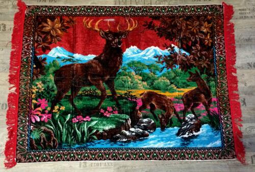 WANDDEKO Wandteppich aus Italien 170 X120  Hirsch Motiv Wandbehang Unikat  Rot