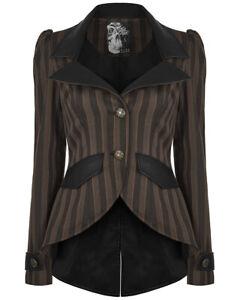 Details zu Punk Rave Womens Steampunk Jacket Brown Black Stripe Tailcoat Gothic Victorian