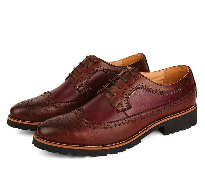 2019 New Mens Carving Brogue Pointy Toe Oxfords Casual Dress Business shoes Size
