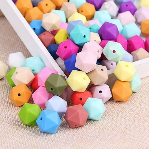 10Pcs 17MM Food Grade Silicone Teether Beads Teething Chew DIY Loose Beads
