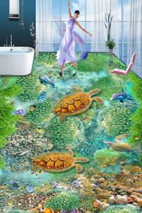 3D Turtle Green Coral 89 Floor WallPaper Murals Wall Print Decal AJ WALLPAPER US