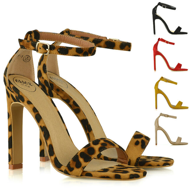 5213e02b7e799 Womens Strappy Sandals Block High Heel Ladies Ankle Strap Party Peep Toe  Shoes