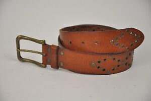 Women-039-s-FOSSIL-Brown-Leather-Belt-Brass-Rivets-Diamonds-Size-Medium-33-034-37-034