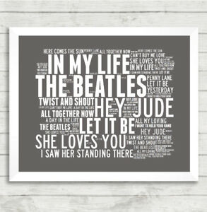 Details about The Beatles Art Print Typography Music Song Titles Lyrics  Poster In My Life