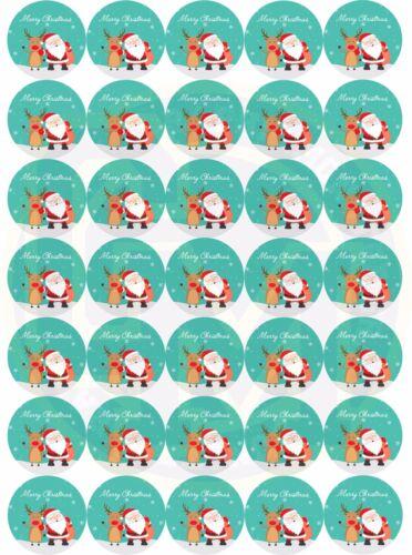 ADESIVI Natale Babbo Natale /& Rudolph 37mm cono di carta rotonda DOLCE PARTY BAG