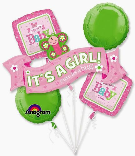Anagram IT/'S A GIRL Cute as a Bug Foil Balloon Bouquet
