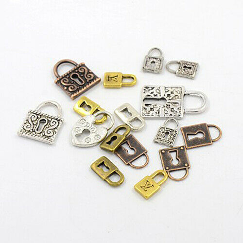 50 Bulk Lock Charms Keyhole Pendants Assorted Mix Steampunk Jewelry Wholesale