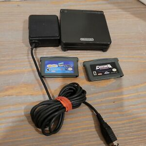 Nintendo Game Boy Advance SP Onyx Black With Oem Charger and 2 Games AGS-001