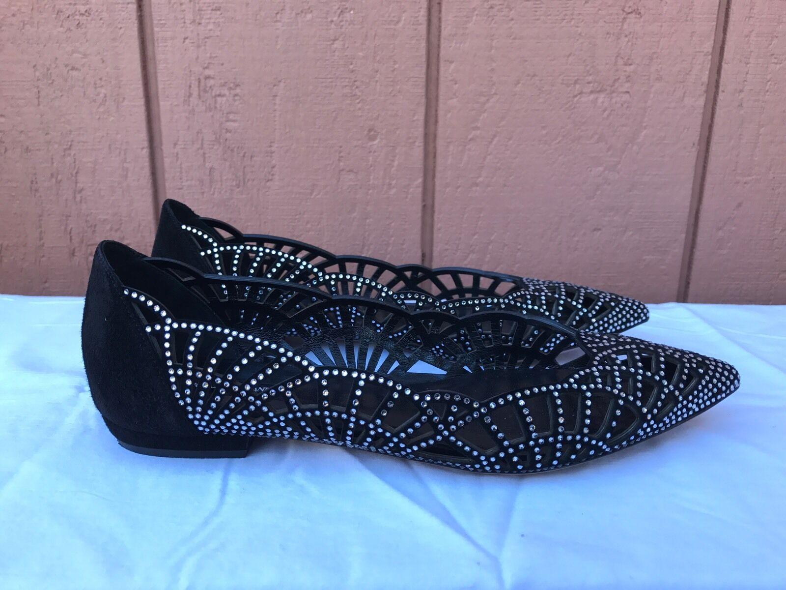 Impresionante MENTA Giorgio Armani Mujer EE. UU. 6 EUR 36 Negro Suede Flats Con Cristales