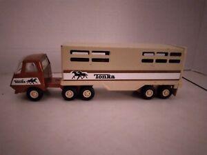 VINTAGE TONKA SEMI CATTLE HORSE TRAILER 811974-A. Pressed Steel. Very Nice!!
