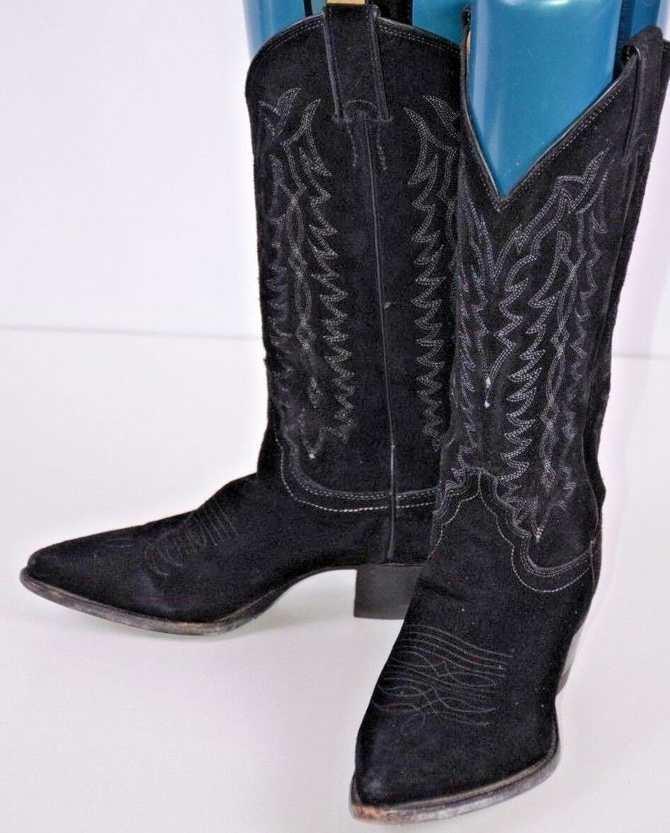 Justin Women's Western Boots Size 5.5 B Cowgirl Black Suede USA Embroidered Cute
