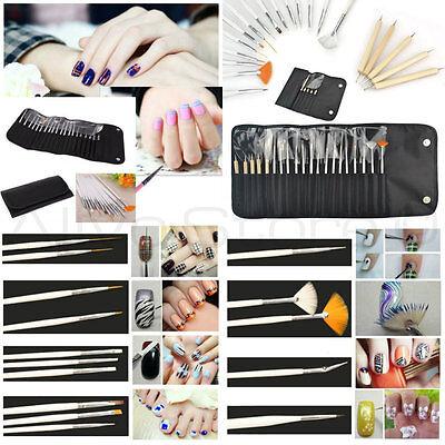 20pc Nail Art Design Painting Dotting Detailing Pen Brush Manicure Tool Kit Set