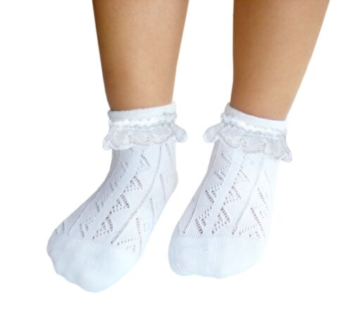 Little girls thin cotton pelerine socks without no toe seams white lace