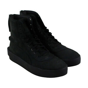 ef7abb41ece6 Puma Xo Parallel Mens Black Leather High Top Lace Up Sneakers Shoes ...