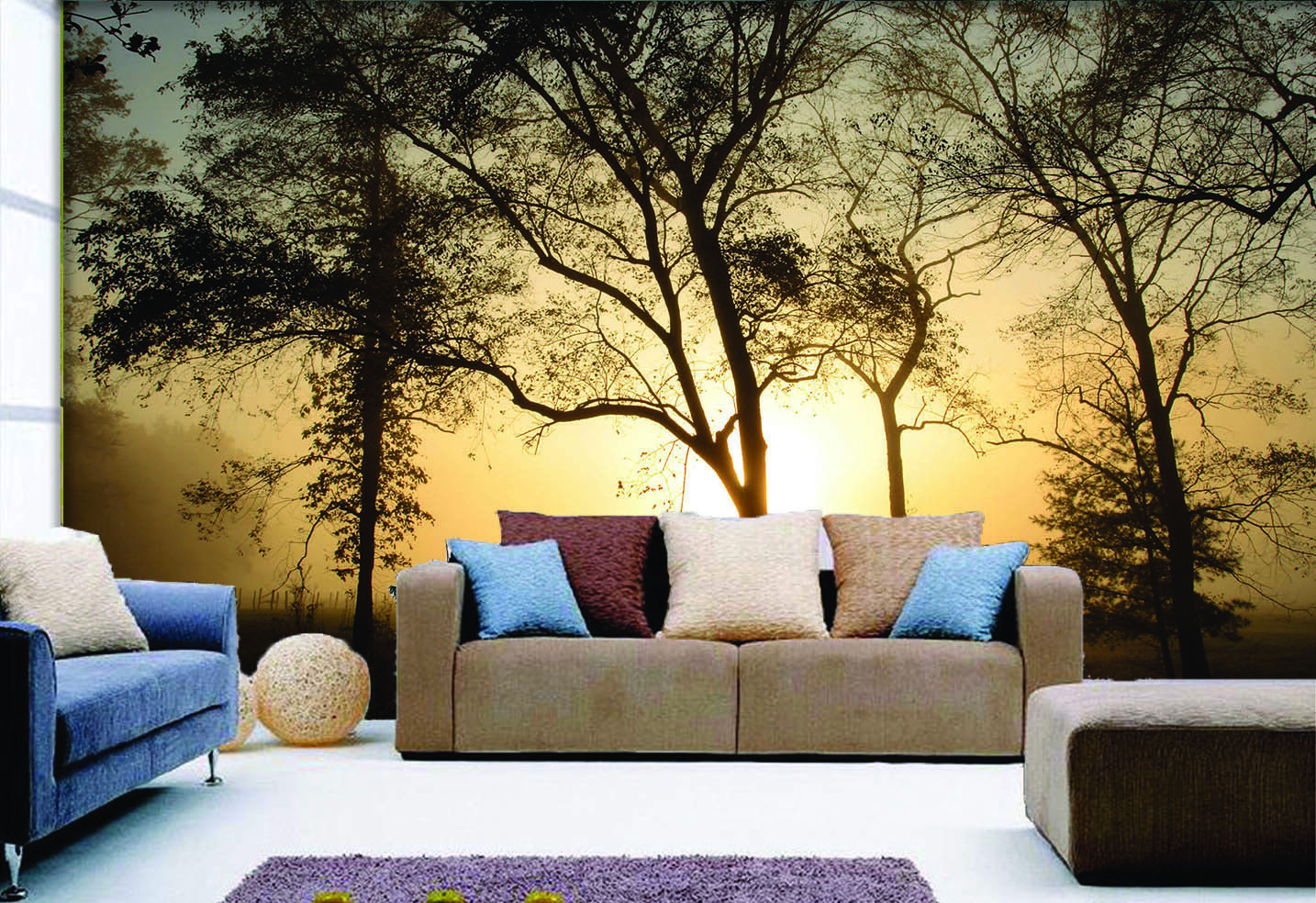 3D Sunny Trees 4047 Wallpaper Murals Wall Print Wallpaper Mural AJ WALL UK Carly
