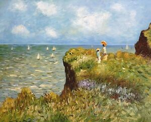 monet spaziergang auf den klippen von pourville keilrahmenbild auf leinwand ebay. Black Bedroom Furniture Sets. Home Design Ideas