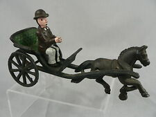 Antique Cast Iron Buggy Wagon Horse Rider Wheels Roll Toy