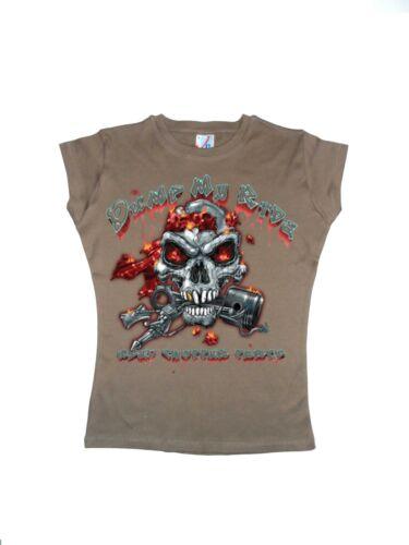 T Shirt im Cappuccinoton mit einem Biker-,Chopper-/& Old Schooldruck Modell Dump
