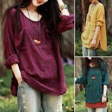 New Korean Womens Loose Cotton Linen Casual Batwing Sleeve T-shirt Tops Blouse