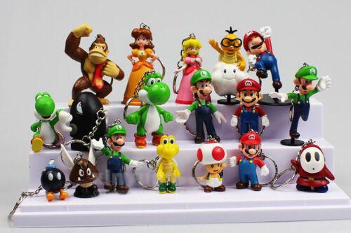 Super Mario anime figure key chains PVC figures doll set of 18pcs X'MAS GIFT NEW