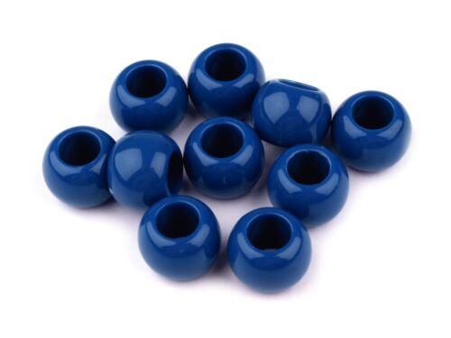 10 Großlochperlen 11x14mm Perlen basteln auffädeln Schmuck herstellen ver.Farbe
