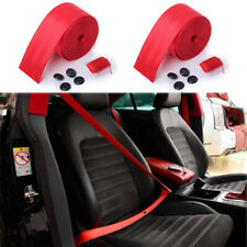 2x Red Car Seat Belt Harness Racing Safety Seat Belt Car Webbing Fabric Harness