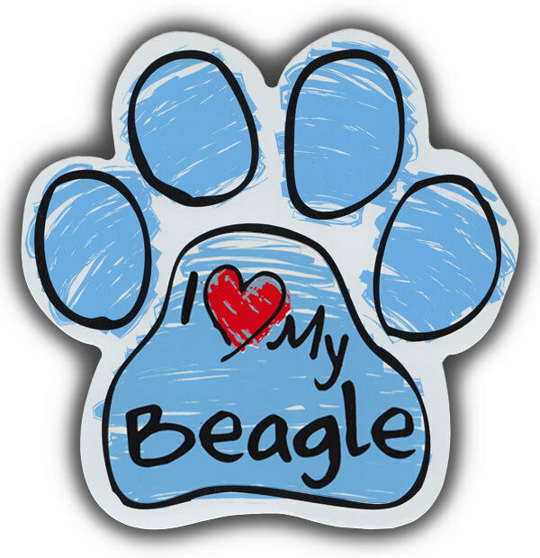 Scribble Paw Dog Magnets: I LOVE MY BEAGLE | Cars, Trucks, Refrigerators
