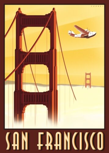 VINTAGE TRAVEL ART PRINT San Francisco by Steve Forney 28x20 California Poster
