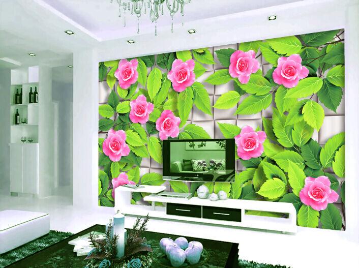 3D greene Blätter, Saflor 2 Fototapeten Wandbild Fototapete BildTapete Familie DE