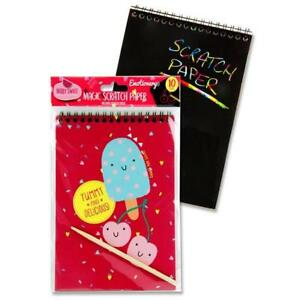 Kids Magic Rainbow Scratch Paper Draw Colour Scratch Off Black Sheet With Pencil