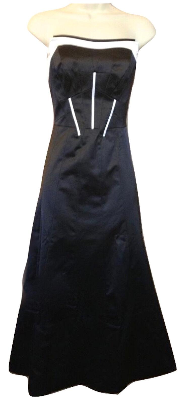 Karen Millen 50s Jahre Kleid schwarz Weiß Trägerlos Midi Länge Abend Cocktail