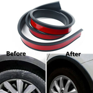 Car Wheel Fender Universal Auto Arch Guard Flexible Extension Wheel Eyebrow Trim Rubber Protector Black 38mm