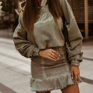 Ola-Damen-2-Teiler-Hoodie-Cropped-Pullover-High-Waist-Minirock-Jeansrock-Khaki