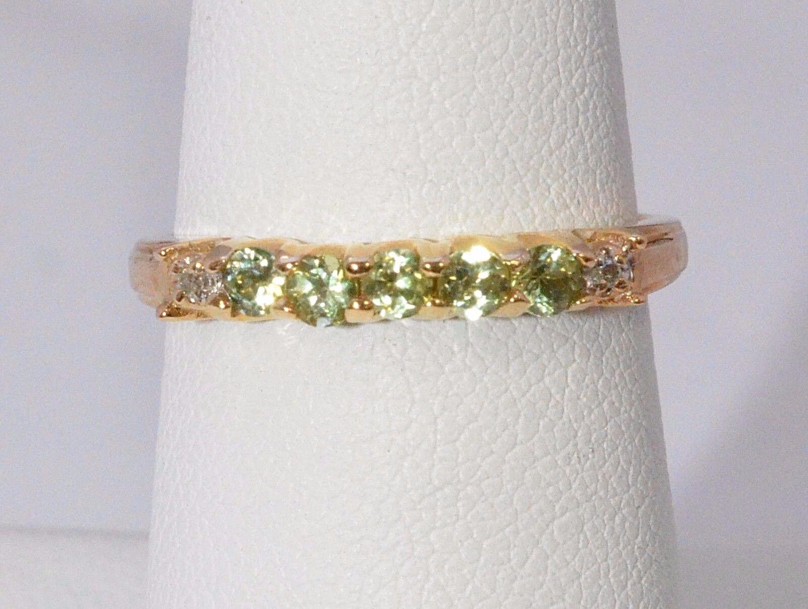 2574-10K YELLOW gold PERIDOT & DIAMOND 1.90 GRAMS SZ 7.0 RING
