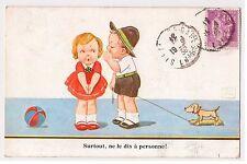 """CPA Illustrateur John Wills - Enfants Jouets Toys """"Ne le dis à personne !"""" 1936"""
